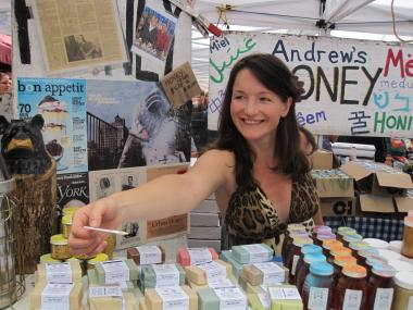 Andrew's Local Honey handed out free samples of their special whipped honey.