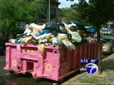 A Dumpster that had been located at 545 W. 158th St. in Washington Heights was removed on Friday, WABC-TV reported.