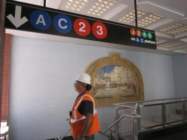 A restored mural of New York Harbor adds a touch of history to the new subway entrance at William and Fulton streets.