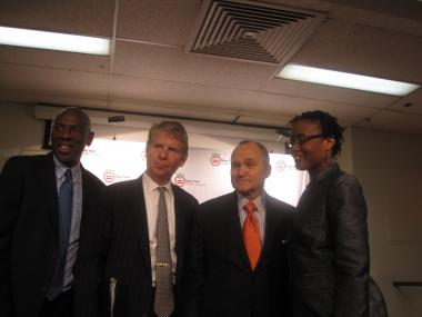 Harlem Children's Zone  President and CEO Geoffrey Canada, District Attorney Cy Vance, Police Commissioner Ray Kelly and Arva Rice, president and CEO of the New York Urban League.