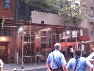 Two men were injured after falling from a section of scaffolding on West 54th Street on Weds., Aug., 3.