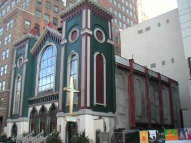 The Romanesque Glad Tidings Tabernacle, before it was demolished in 2009.