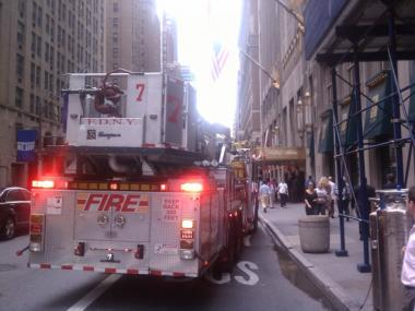 Fire trucks respond to the Waldorf Astoria hotel for a transformer fire on Aug. 4, 2011.