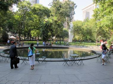 Madison Square Park is situated along Madison Avenue between East 26th and East 23rd streets.