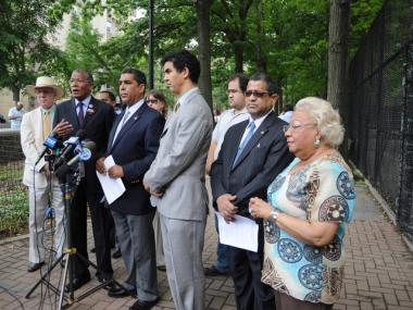 Elected officials and community members called for more law enforcement in city parks after a woman was raped in Inwood Hill Park on June 10, 2011.
