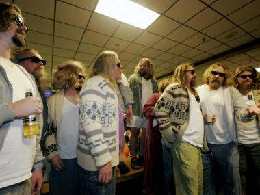 Big Lebowski fans dressed as 'the Dude' as part of Lebowski Fest.