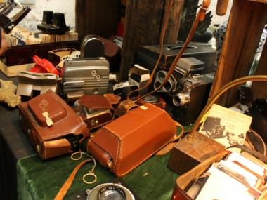 A table of wares at Antiques Garage. Dealers have been notified that the market will close at the end of the month.