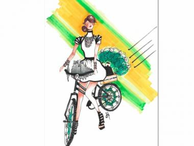 An illustration of a bike by designer Jessica Hosoi for