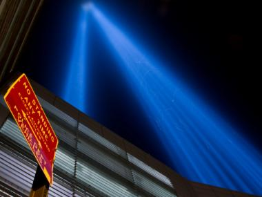 An up-close view of the Tribute in Light beams in memory of the 9/11 attacks.