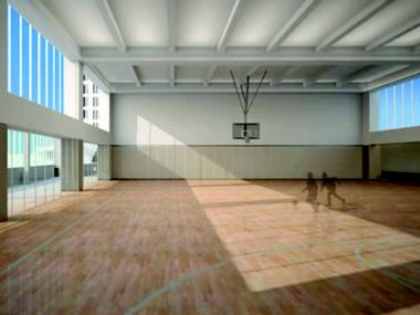 A rendering of Asphalt Green's gym in Battery Park City.