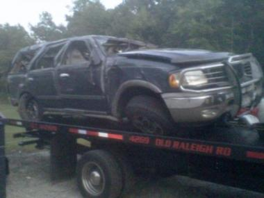 Rosanny Marte, 22, her mother Angela Marte, 46, and her grandmother Rosa Marte, 71, died when their SUV (pictured) crashed in North Carolina on Aug. 20, 2011 after a trip to Disney World.