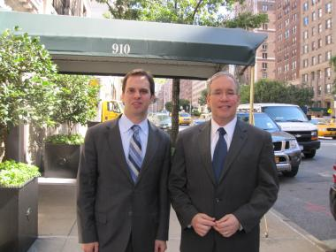 Manhattan Borough President Scott Stringer joined Assembly candidate Dan Quart on the Upper East Side Tuesday, Aug. 23, 2011, to discuss ways to encourage building owners to switch away from dirty fuel.