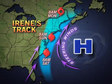 Hurricane Irene is closing in on North Carolina and could be in the New York area by Saturday night.
