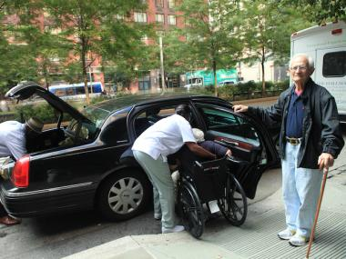 Residents at the Hall Mark of Battery Park City senior center began evacuating Friday as in anticipation of Hurricane Irene.