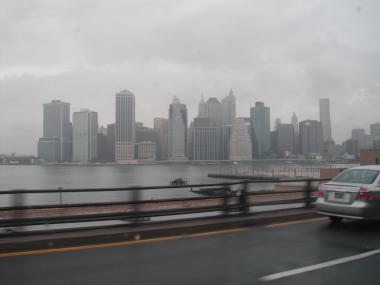 The view of Lower Manhattan just after rain started to fall Saturday morning,