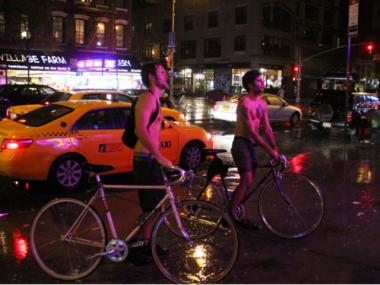 A pair of cyclists braved Hurricane Irene on Second Avenue and East 9th Street on Aug. 27, 2011.
