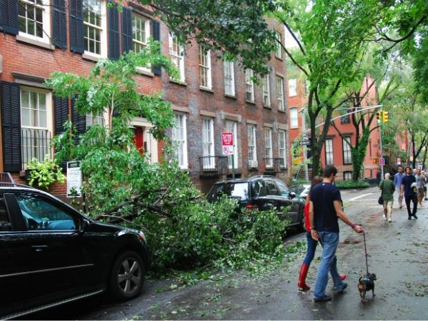 Residents woke up to flooded streets Sunday morning, as Hurricane Irene set on New York.