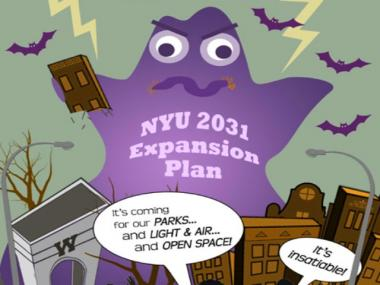 The Greenwich Village Society of Historic Preservation says NYU's expansion plans are scarier than any Halloween fright.
