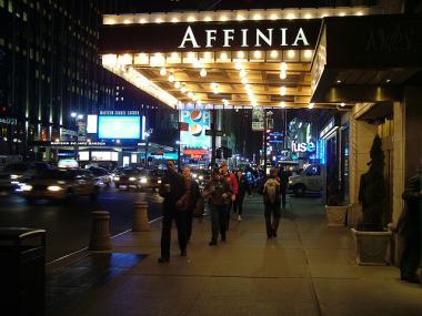 Midtown's Affinia Hotel, where NYU students are reportedly among the guests.
