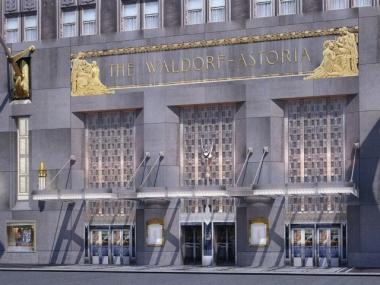 A rendering of the Waldorf-Astoria's proposed new Park Avenue entrance.