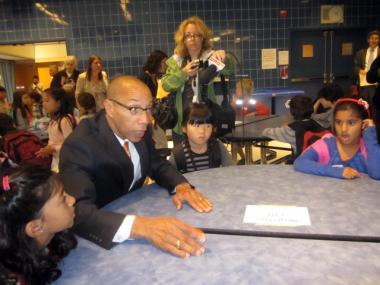 Schools Chancellor Dennis Walcott spoke to students at the Spruce Street School Sept. 8, 2011.