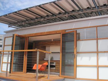 A terrace on the Solar Roofpod.