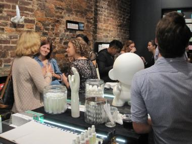Revelers enjoy Fashion's Night Out at beauty products maker Malin+Goetz.