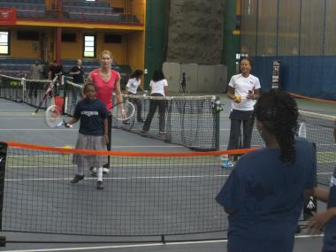 Steffi Graf, who won 22 Grand Slam singles titles during her career, led a tennis clinic at the Harlem Tennis Center on 143rd Street.