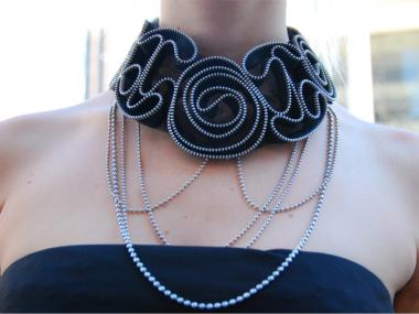 Alissa Lentz's necklace is made from an old shirt detail and recycled chains.