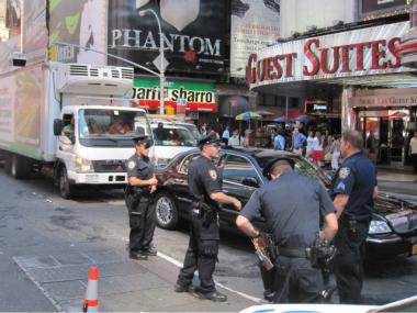 Police check cars at a checkpoint at Seventh Avenue and 47th Street on Sept. 9, 2011 after a terrorist threat was issued.
