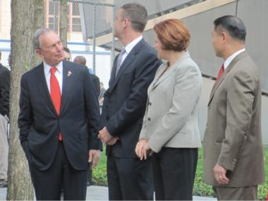City Comptroller John Liu, pictured with Mayor Michael Bloomberg and City Council Speaker Christine Quinn at the 9/11 Memorial public opening, has seen his poll numbers fall amid allegations of campaign fundraising fraud.