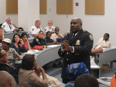Capt. Kevin Williams, the new commander of the 28th Precinct in Harlem, addressed residents on September 14, 2011.