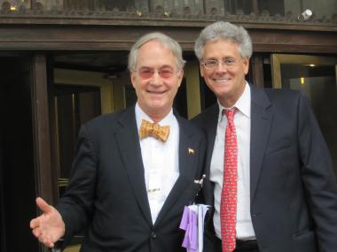 Former National Arts Club President O. Aldon James with his lawyer, Adam Gilbert, after a court hearing on Tuesday, Sept. 20, 2011.