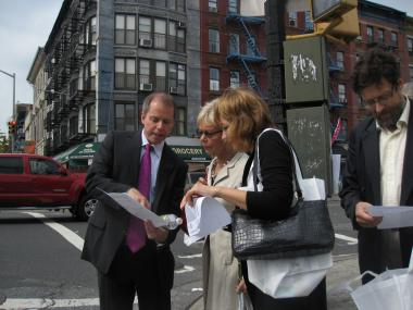 Consul General of Finland in New York Ritva Jolkkonen and Director General of the Ministry of Social Affairs and Health Päivi Sillanaukee get a tour of Hamilton Heights from Thomas Lunke, director of planning and development for the Harlem Community Development Corporation.