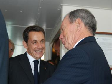 Mayor Michael Bloomberg and French President Nicolas Sarkozy chatted on the way back to lower Manhattan.
