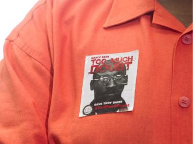 A guest wears a sticker in support of Troy Davis during a press conference at Ebenezer Baptist Church on September 20, 2011 in Atlanta, Georgia. The Georgia Pardons Board denied clemency for death row inmate Troy Davis on Tuesday morning.