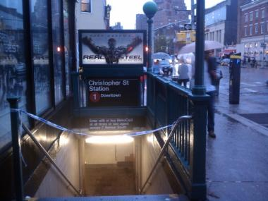 Police tape blocks the entrance to the Christopher Street station on the No. 1 line after a man was struck by a train there on Sept. 23, 2011.