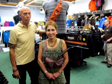 Jim Laros is the buyer for the camping department at Paragon. Bellinson is the inventor of the Freedom Strap.