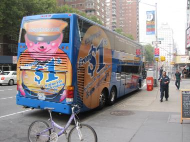 A Megabus bus parked at 27th Street and 8th Avenue on Sept. 26, 2011