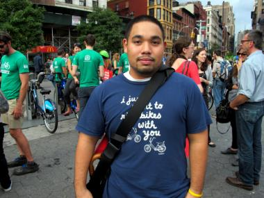 Jason Chin-Fatt said he bikes to work every day and is excited to take advantage of the city's new bike-sharing program when it launches next year.