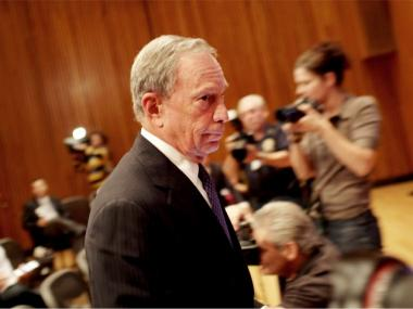 New York Mayor Michael Bloomberg enters a news conference to discuss a new terrorist threat on September 8, 2011 in New York City.