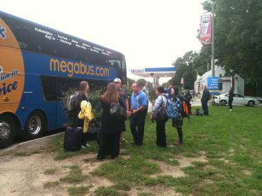 Megabus passengers were stuck on the side of Interstate 87 for over two hours on Mon. Oct. 3, 2011.