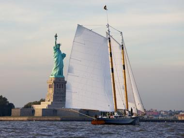 The America 2.0, one of the 18 yachts sailing in this weekend's races.