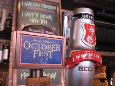 Harlem Tavern has 18 beers on tap. The restaurant will host its first annual Oktoberfest on Oct. 22.