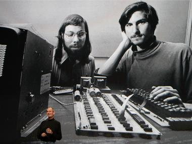 Stephen Wozniak (l.) and Steve Jobs (r.) created Apple in suburban California in 1976.