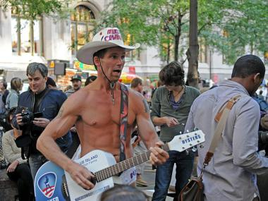 The Naked Cowboy visited Occupy Wall Street at Zuccotti Park on Oct. 6, 2011.