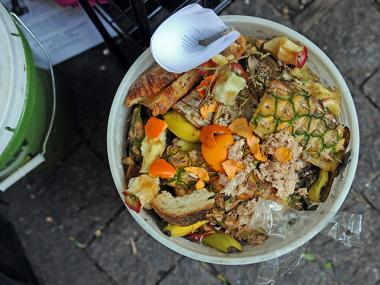 An image of leftovers at Zuccotti Park during the Occupy Wall Street movement that were being composted. The Upper East Side has two new compost drop off sites.