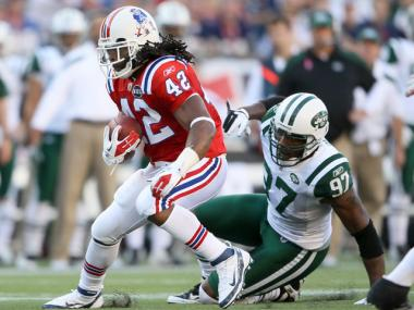 BenJarvus Green-Ellis ran for a career high 136 years against the Jets Sunday.