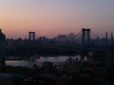 A Twitter user posted a photo Sunday night of the fire as seen from Williamsburg, Brooklyn.
