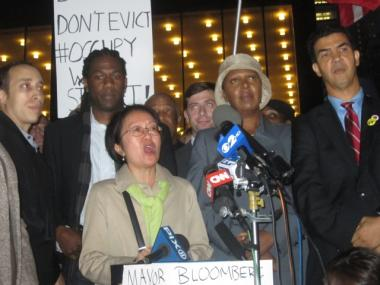 "Councilwoman Margaret Chin, surrounded by her colleagues in the City Council near Zuccotti Park on Oct. 13, 2011, voiced strong support for the Occupy Wall Street protesters and said those who are well off need to pay their ""fair share."""